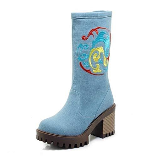 FMWLST Stiefel Frauen Winterstiefel Bestickte Schuhe Frauen Pelz Dick-Soled Winterstiefel Damenschuhe Winter Warme Rutschfeste Stiefel, 36 -