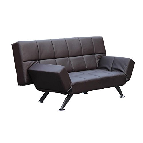 MACOShopde by MACO Möbel 2er 3er Sitzer Schlafsofa mit verstellbarem Rückenteil und Armlehnen – Klappcouch aus Kunstleder in braun