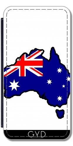 Leder Flip Case Tasche Hülle für Huawei P8 Lite (ALE-L21) - Australien-Flaggenkarte by Cadellin (Adelaide Leder)