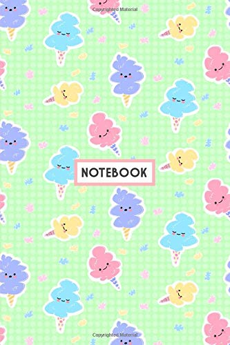 Notebook: Kawaii Cotton Candy Mint, Wide Ruled 110 pages (6.14