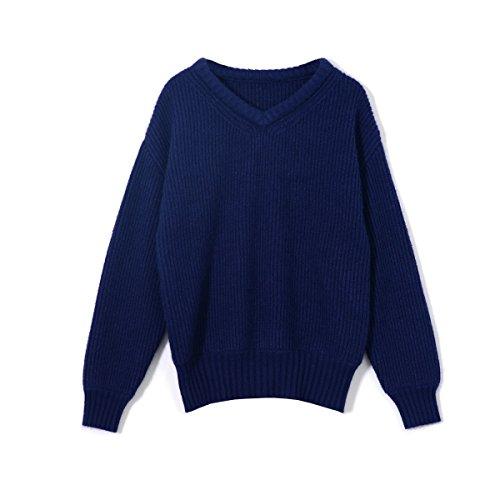 MEI&S Women's chunky tricot épais chandail tricoté cavalier baggy Navy blue