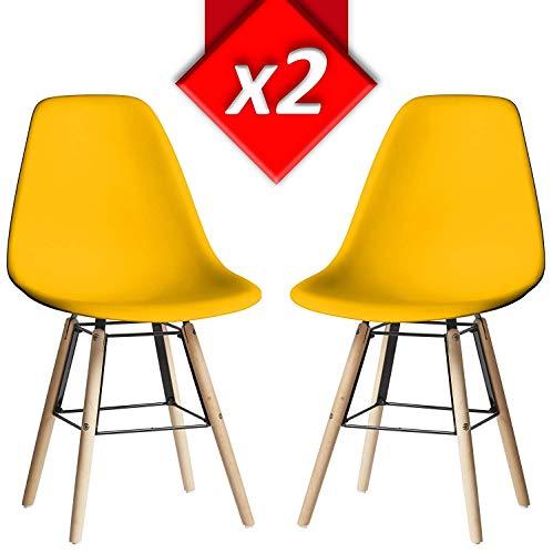 VS Venta-stock Lot de 2 Chaises Tower Halley Jaune, Chaise Eames Blanc avec Pieds en Bois de hêtre Massif, Dimensions: 47 x 56 x 84