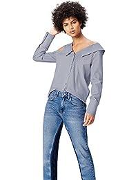 FIND Camisa Asimétrica Oversize de Rayas para Mujer