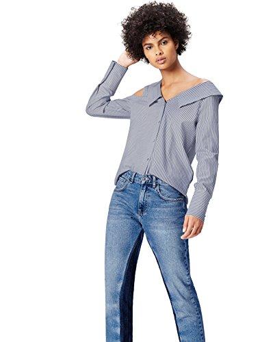 Find. Camisa Asimétrica Oversize Rayas Mujer, Multicolor