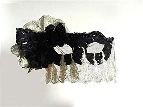 Jack Mall- máscara de la pluma lateral de la flor del vintage magnífico velo de encaje del partido Máscara de la Reina Máscara de Halloween