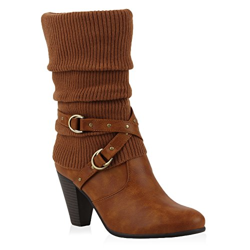 Damen Stiefel Stulpen Stiefeletten High Heel Boots Hellbraun