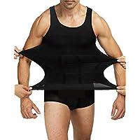 Shaxea Bodywear Mens Slimming Body Shaper Gynecomastia Vest Shirt Tank Top Compression Shirt, Shapewear for Men (Black, M)