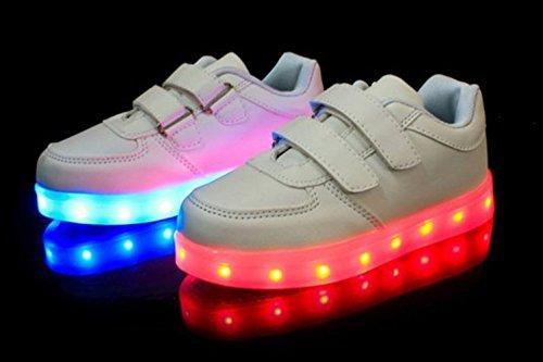 (Present:kleines Handtuch)JUNGLEST® 7 Farbe LED Leuchtend Aufladen USB Kinderschuhe Paare Schuhe Herbst und Winter Sport schuhe Freizeitschuhe Leucht lau Weiß