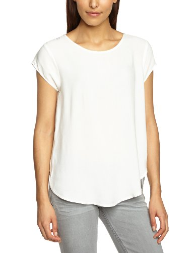 VERO MODA Damen T-Shirt BOCA SS TOP, Einfarbig, Gr. 38 (Herstellergröße: M), Weiß (Snow White)