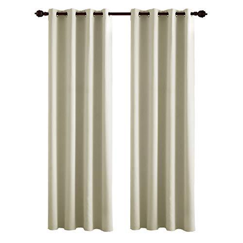 Deconovo tende oscuranti termiche isolanti con occhielli tende per casa moderne 2 pannelli 140x260 cm beige chiaro