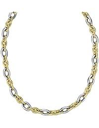14K Blanco Oro 10.3mm Alternate 3amarillo textura 1blanco Lrg Oval Link cuello Fleur de Lis cierre–opciones de longitud: 190546