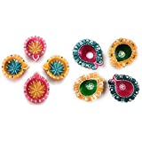 Fressia Diya For Decoration | Diya For Puja | Diya Holder Decorative | Diya Lamps For Pooja | Diwali Gifts And Decoration(Set Of 8, Handmade)