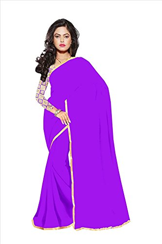 Sparsh Sarees calaction chiffon Purple colored Plain Saree comes with Matching Net Fabrics Unstitched blouse.