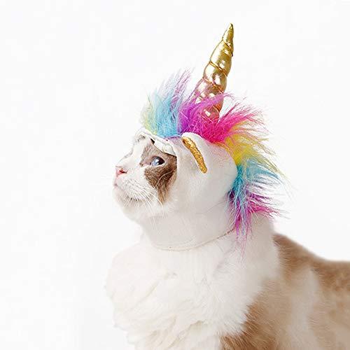 Einhorn-Kostüm für Katzen, Horn Kopfschmuck Perücke Haustier Verkleidung ()
