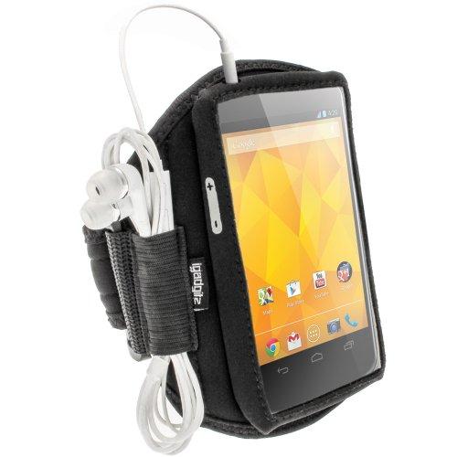 Adidas Chip (igadgitz Schwarz Neopren Sportarmband für LG Google Nexus 4E960Android Smartphone Handy)