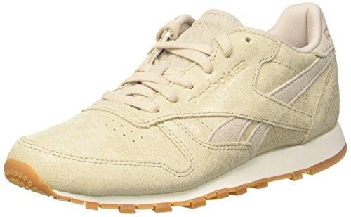 Reebok Damen Classic Leather Clean Exotics Gymnastikschuhe, Grau (Stucco/Chalk/Sand Stone/Gum), 40 EU -