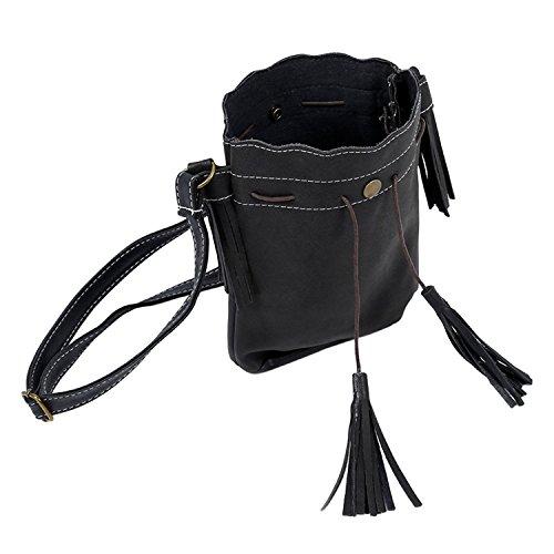 TOOGOO(R) Frauenbeutel Quaste Fashion Eimer Tasche Patchwork Frauen Schulterbeutel Kurierbeutel Frauenhandtasche PU-Leder lila Matte-Leder schwarz