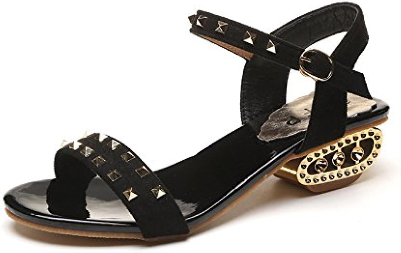 yalanshop Sandalias bajas de la moda de las mujeres y Liu Ding Summer Square con sandalias de las mujeres con...
