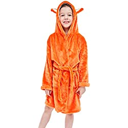 COOKY.D Peignoir Enfant à Capuche Pyjama de Dessin Animé de Coton Doux pour 3-5 Ans, Renard