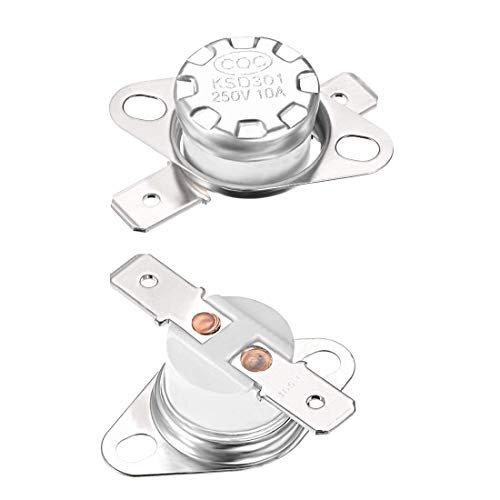 ZCHXD KSD301 Thermostat, Adjust Snap Disc Limit Control Switch Microwave Thermostat Thermal Switch 165°C 10A Normally Closed N.C 6.3mm Pin 2pcs -