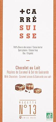 Carré Suisse Recette N°13 Chocolat au Lait Pépites de Caramel & Sel de Guérande 100 g - Pack de 10