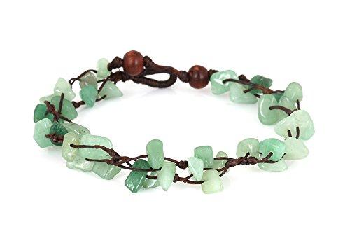 MGD – Grün Aventurin Perlen Fußkettchen – Edelstein Fußkettchen – Schöne Handgemachte Mode Schmuck für Damen – Kinder und Jugendliche – JB-0124A