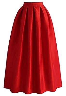 JANAK Women's Silk Skirt(DN126, Red, Medium)