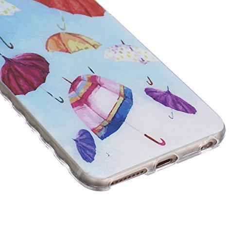 HB-Int 4 en 1 TPU Etui pour Apple iPhone SE / 5 / 5S Girafe Original Motif Coque Fashion Design Housse Gel Silicone Souple Couverture Légère Slim Flexible Coque Protecteur Fonction Anti Choc Anti Rayu Colorful Umbrella