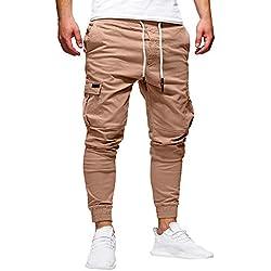 beautyjourney Pantalones de chándal elásticos para HombreLeggings Deportivos de Color sólido Pantalones Sueltos Casuales con cordón