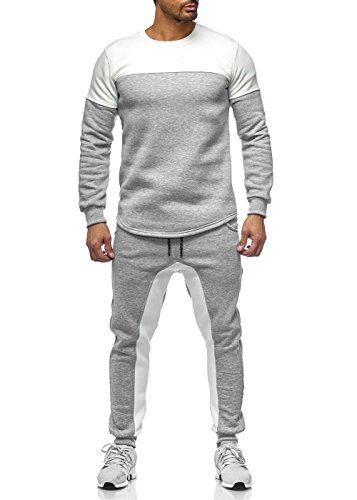 Herren Jogginganzug Sportanzug XS - XL Sweatpants Hoodie 78 Mainstream Moda (Cream, XL)