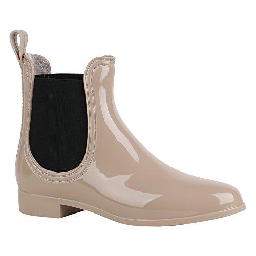 Bequeme Damen Schuhe Stiefeletten Gummistiefel Lack 156878 Beige Schwarz 37 Flandell
