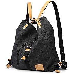 Kono Mochila de bandolera, bolsos de lona versátiles y multifuncionales para las mujeres niñas, elegantes bolsos cruzados, mochila duradera para viajes de gran capacidad para portátiles (Negro)