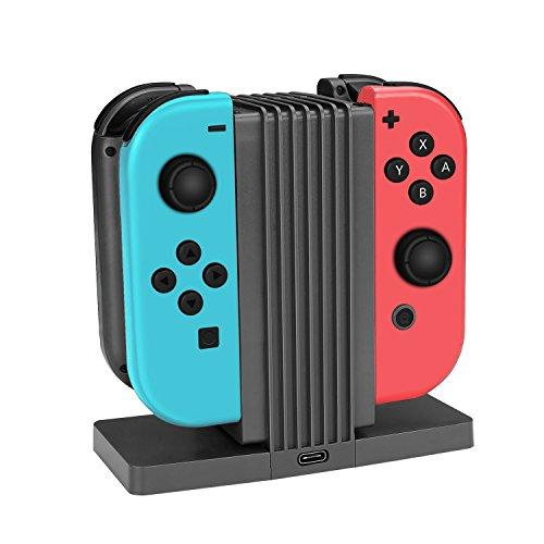 TNP Joy-Con Ladestation Halterung für Nintendo Switch - 4 in 1 Ladestation mit LED-Anzeige für Nintendo Switch Joy-Con Controller