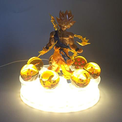 CXQ Anime Dragon Ball Z Theateredition Shenlong Gruppe Lijing Produkte Handgemachtes Modell leuchtendes Spielzeug, Wukong mit Lichtern (USB)