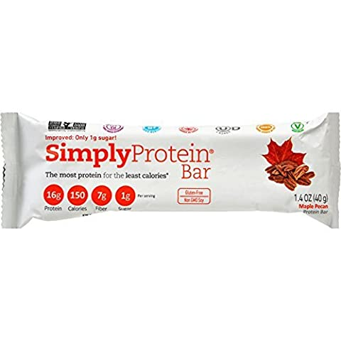 SimplyProtein Protein Bar - Maple Pecan - 1.41 oz - Case of 12 - Gluten Free -The most protein for least calories - Made with real ingredients by SimplyProtein