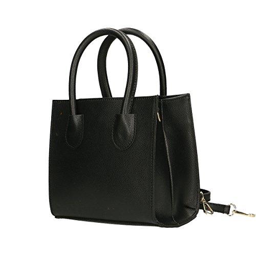 Chicca Borse Borsa a mano in pelle 20x19x10 100% Genuine Leather Nero