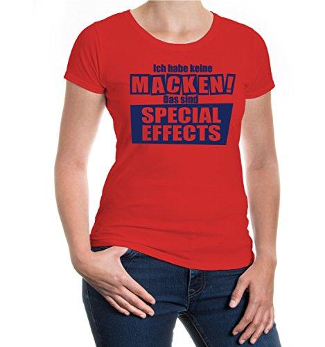 buXsbaum® Girlie T-Shirt Keine Macken - Special Effects Red-Navy