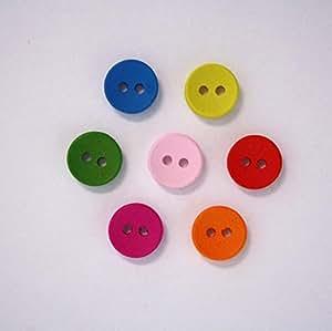 Boutons en Bois Multicolore 10mm 2 Trous - Lot de 10