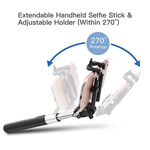 Selfie Stick,Coolreall Selfie Stangen Ausfahrbar Kabelgebunden Stab für iPhone 6s 6 Plus SE 5S 5C 5,Samsung Galaxy,Android und andere Smartphones (Schwarz) - 5