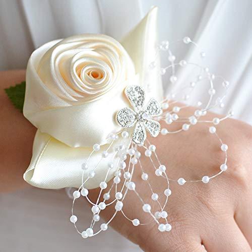 SparY Armbanduhr Blumen Korsage, Armbanduhr Brosche Blume mit Perlen Perlenarmband für Hochzeit Party Deko Hochzeit Abschlussball (Milch Weiß) - Milch Weiß, Free Size