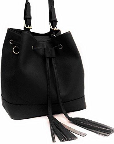 DEEP ROSE Borsa secchiello in Vera Pelle Donna Made in Italy spalla mano shopper bucket bag con tracolla regolabile ANDREA nero
