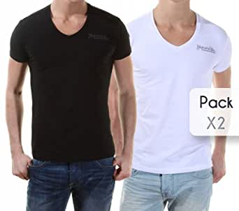 Kaporal - T Shirt Gift Pack X2 Col V Blanc/noir - Taille L - Couleur Blanc
