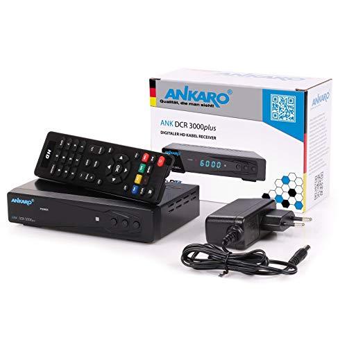 Ankaro DCR 3000 Plus digitaler 1080p Full HD Kabel-Receiver für Kabelfernsehen mit PVR Aufnahme Funktion (HDTV, DVB-C/C2, HDMI, Scart, Coaxial, Mediaplayer, USB) automatische Installation-schwarz