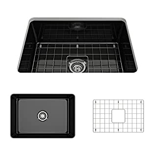 Sotto Undermount Fireclay 27 in. Single Bowl Kitchen Sink with Protective Bottom Grid and Strainer in Black