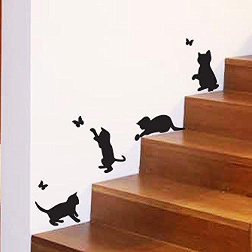 Katzen Spielen Fangen Schmetterlinge Home Vinyl Wandaufkleber Dekor Aufkleber Wandbild Kätzchen Haustiere Tapete Dekoration Kinderzimmer