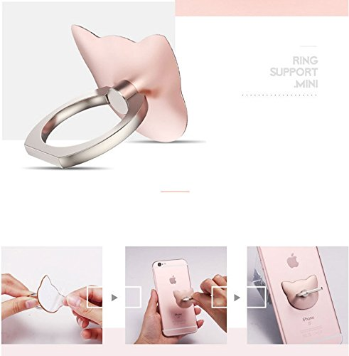 Sunei. F 1pcs Bague Support Chat Bague Boucle Nouveau Support de téléphone Portable Bague de Dessin animé, Rose Gold, 1