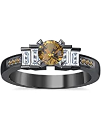 Silvernshine 1.35Ct Round & Buget Cut Citrine Sim Dimoands 14K Black Gold Plated Engagement Ring