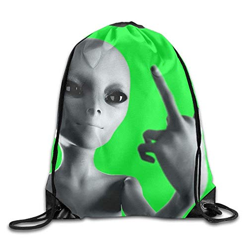 Sporttaschen,Eco-Friendly Pirnt Gray Middle Finger Aliens Exotic Drawstring Bag for Traveling Or Shopping Casual Daypacks School Bags ()