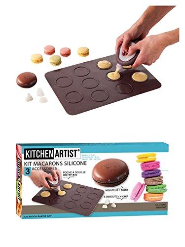Makronen-Backset inkl. Spritzbeutel mit 4 Aufsätzen (Silikon-Backform für Macarons, Keksform, Plätzchen-Backform für 10 Makronen)