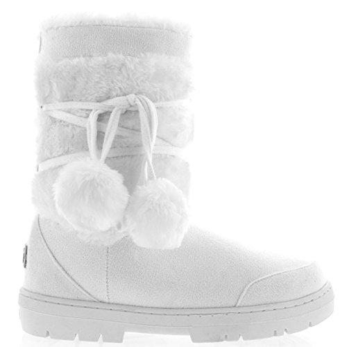 Holly Damen Schuhe Pom Pom Fell Schnee Regen Stiefel Winter Pelzstiefel, Weiß, 38 EU